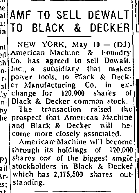 black and decker buys dewalt 1960