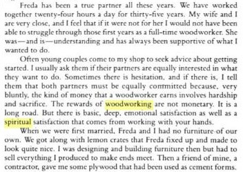 fragment on spiritual nature of woodworking from sma maloof's autobiography
