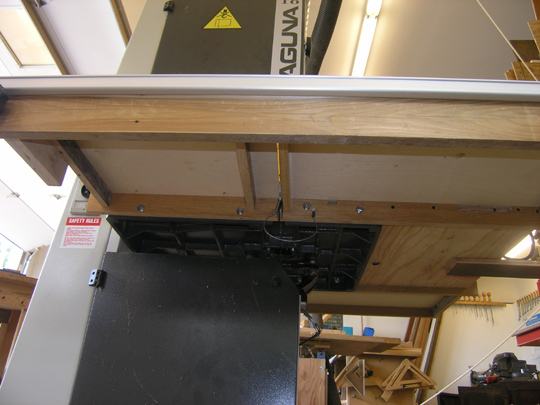 underside of bandsaw table